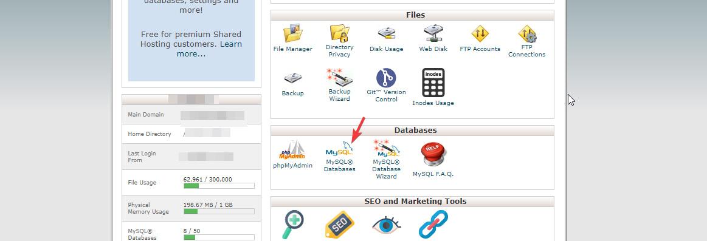 MySQL database page