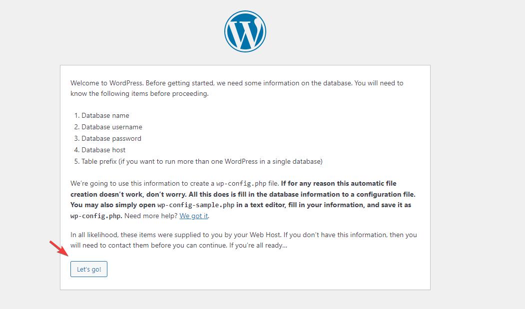 WordPress Setup Configuration page