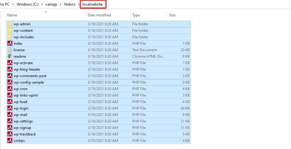 WordPress installation folder