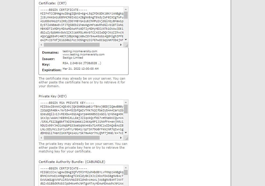 SSL installation page
