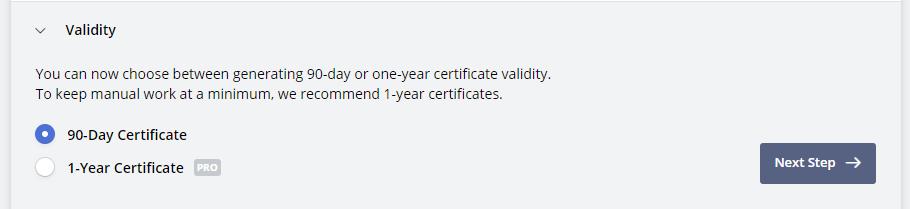 90 days certificate