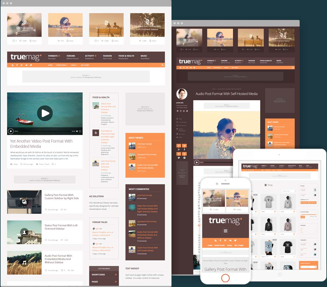 Truemag ad optimized magazine WordPress theme